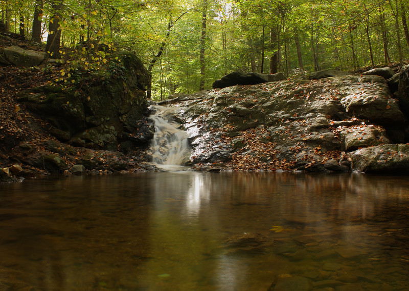 """This is a small cascade along the Cascade Falls trail in Patapsco Valley State Park.  My first attempt at blurring the water for a """"misty"""" look using a neutral density filter."""