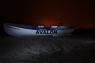 Light painting of an Avalon, New Jersey lifeguard boat.