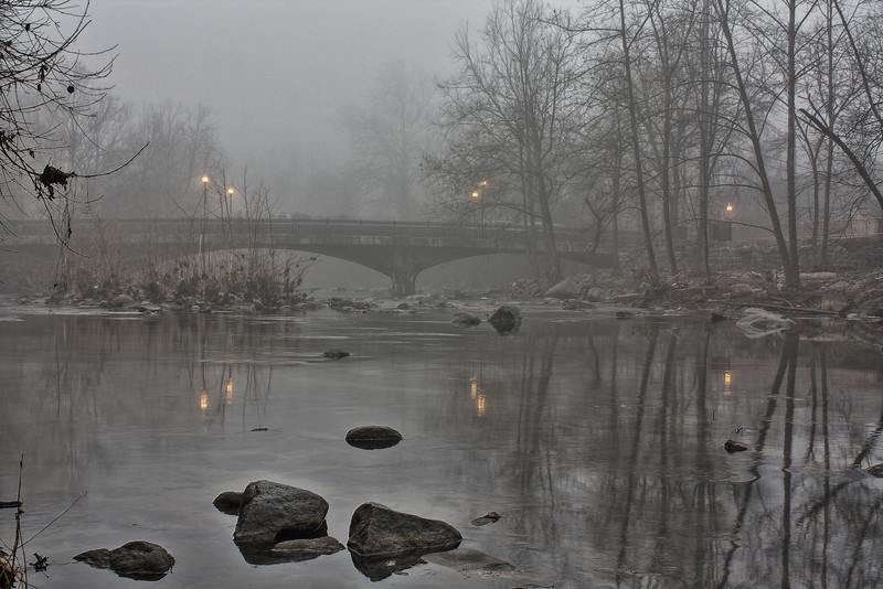 Patapsco River at Ellicott City.  HDR on a foggy day.  Processed with Canon's DPP HDR module.